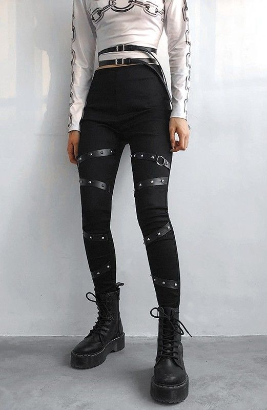 Photo of High Waist Leggings with Rivet Straps