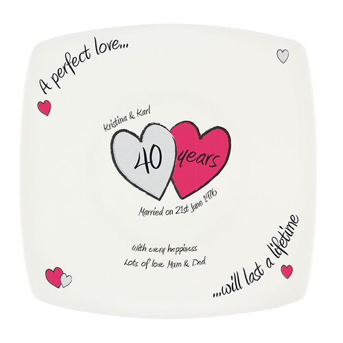 personalized 40th anniversary plate gift for your parents