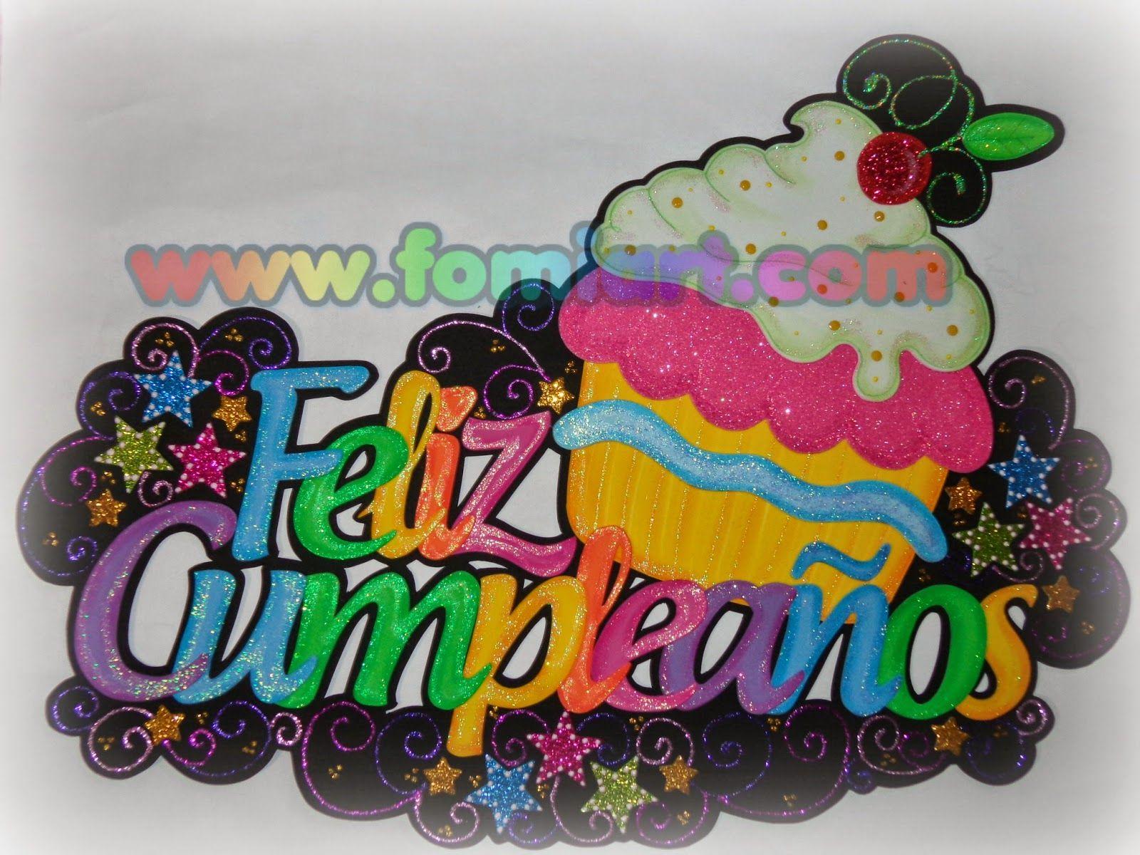 Letrero de feliz cumplea os en fomi foamy goma eva - Hacer nombres con goma eva ...