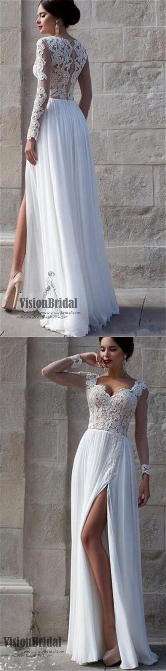 Top see through white sweetheart lace tulle prom dress long sleeves