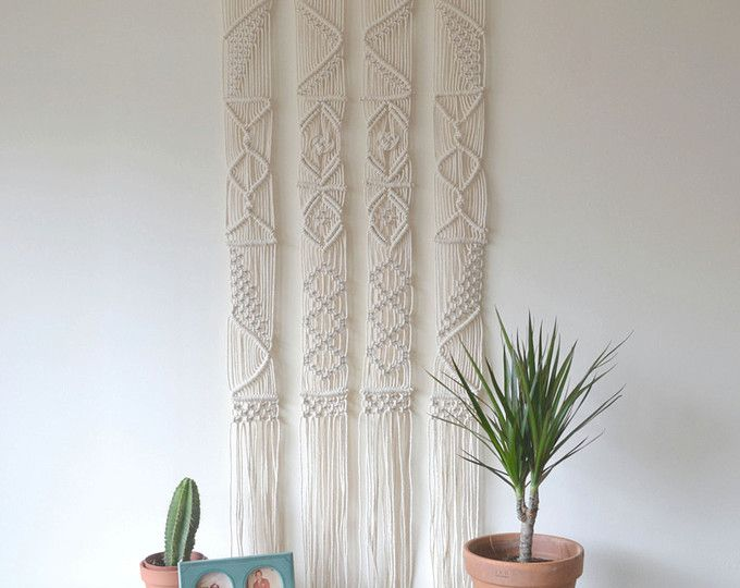 Macrame curtain / room divider / wall hanging with natural cotton ...