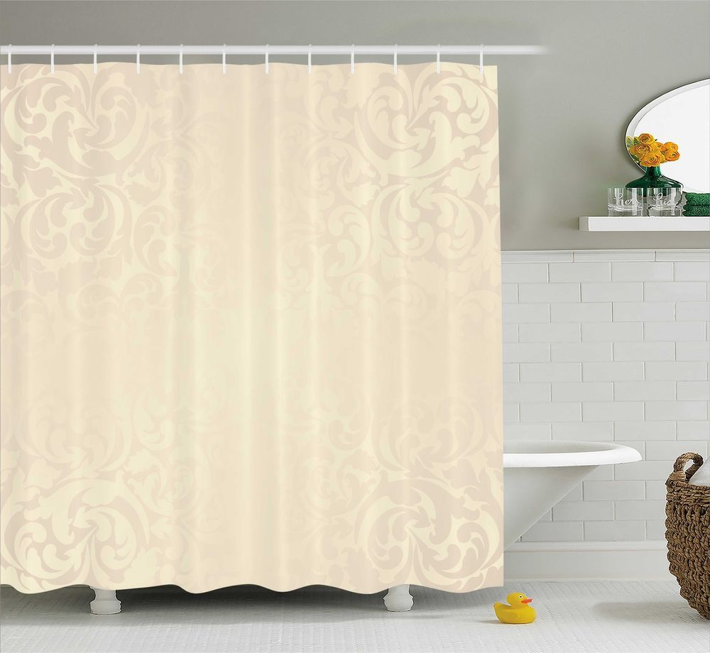 Victorian Shower Curtain Monochrome Damask Print For Bathroom 75