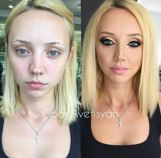 You'd think she had a nosejob between the before and after ...