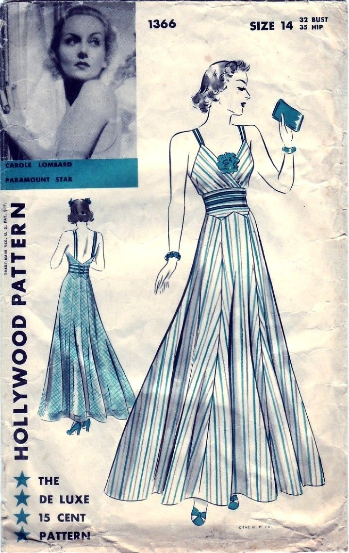 carole lombard hollywood pattern 1366aa | Vintage Patterns ...