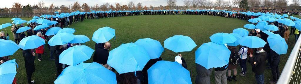 Novo Nordisk employees forming the blue circle on #WorldDiabetesDay.