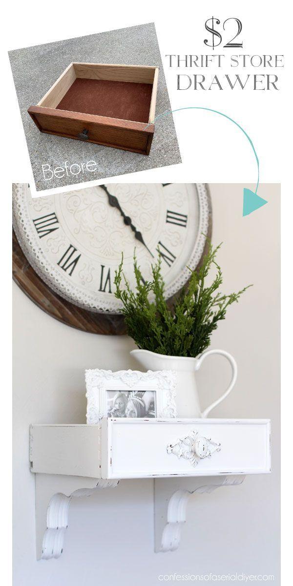 Photo of Verwandle eine alte Schublade und ein Paar Klammern in ein niedliches Wandregal. – UPCYCLING IDEEN