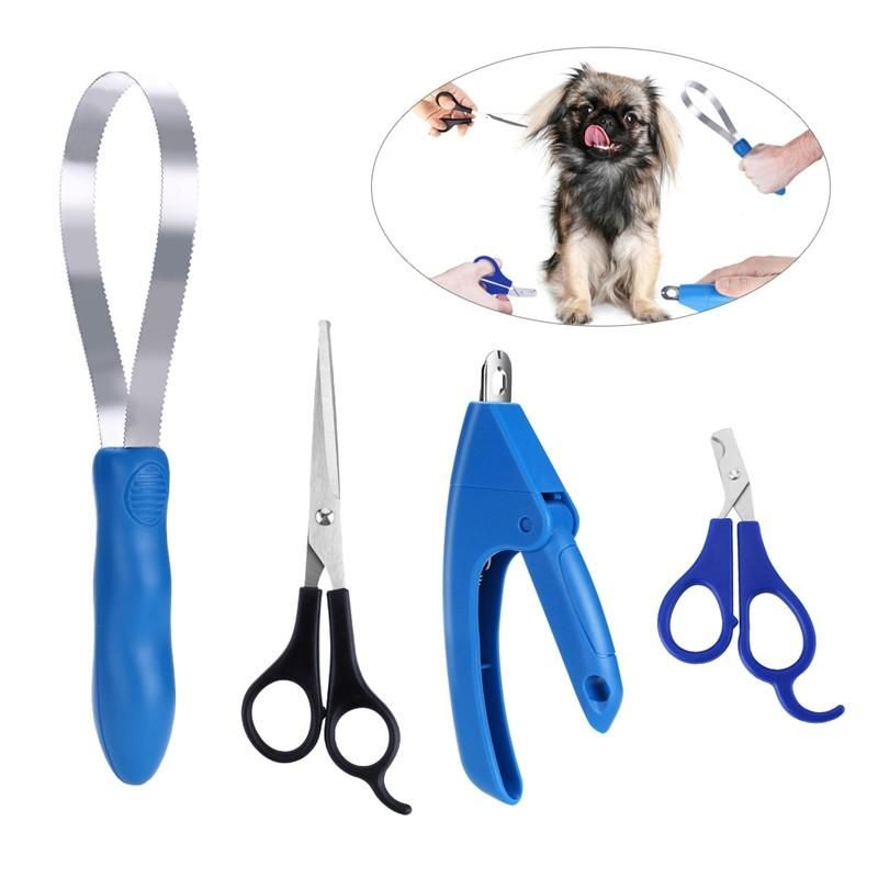 Stainless Steel 4pcs Pet Grooming Kit Nail Trimmer Grooming Scissors Claw Clipper Hair Removal D Dog Grooming Scissors Pet Grooming Dog Grooming Supplies