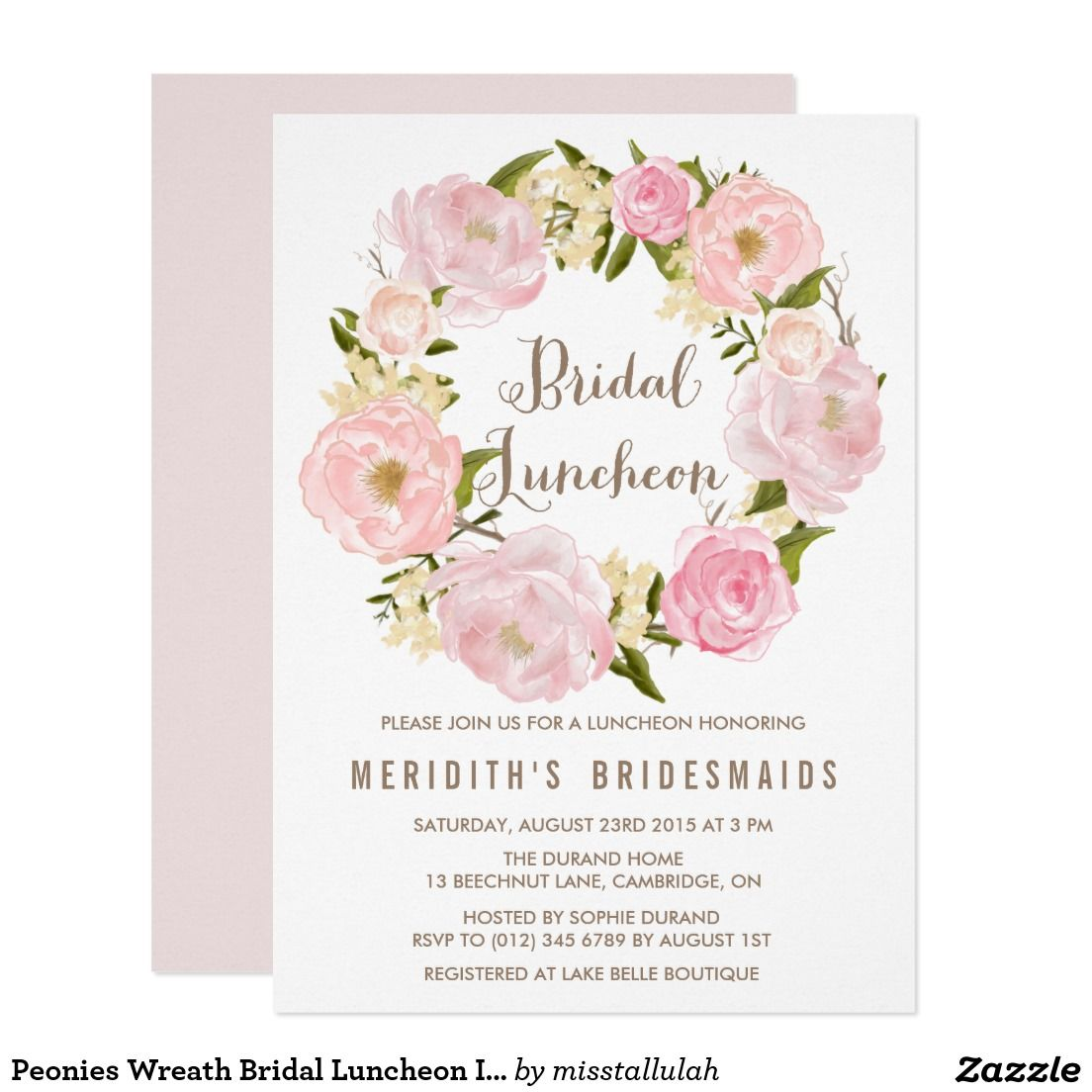 peonies wreath bridal luncheon invitation wedding bridal luncheon