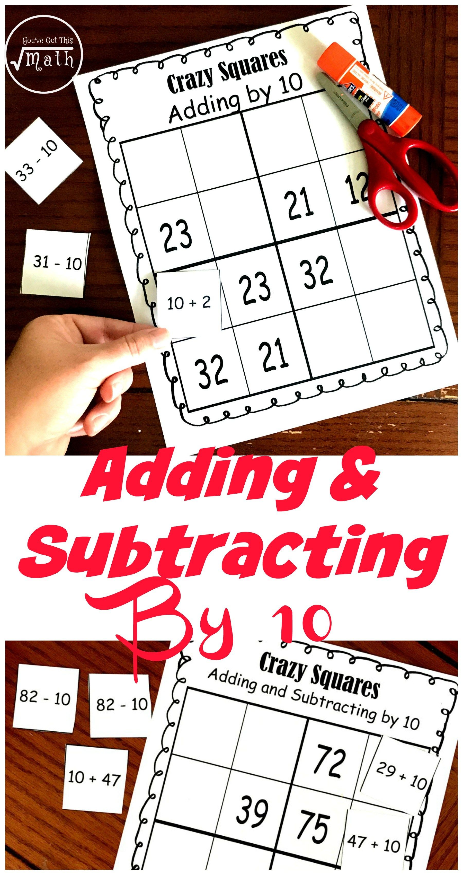 Get A Free Adding By 10 Activity To Challenge Students Adding And Subtracting Fun Education Subtraction Mental math addition activities
