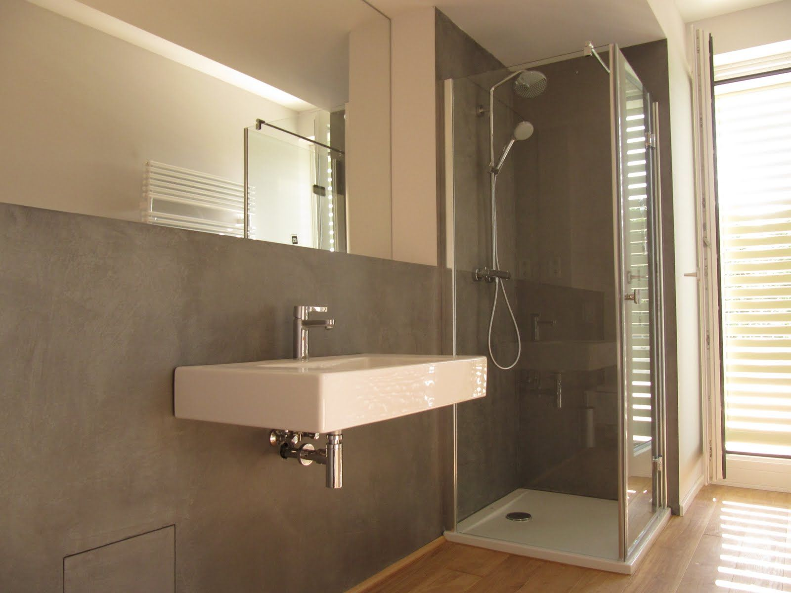 Design Handwerk Bad Betoncire Beton Cire Bad Holzfliesen Fugenloses Bad Badezimmer