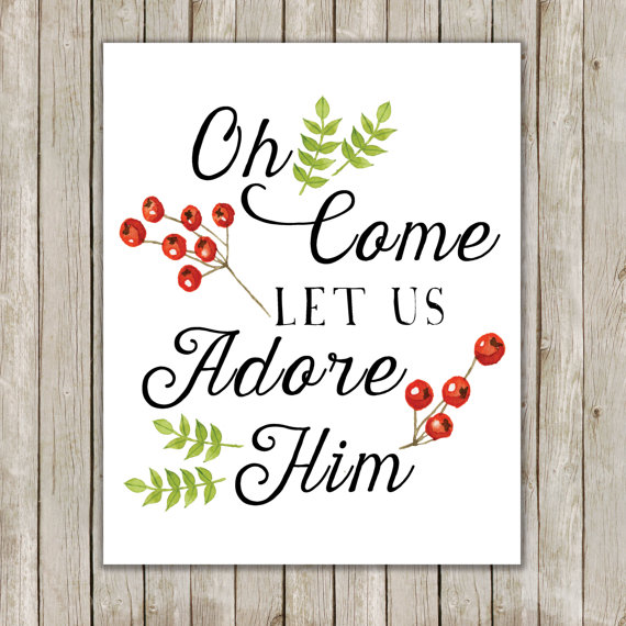 Oh Come Let Us Adore Him Wood Signs Christmas Signs Wood: 8x10 Christmas Printable, Oh Come Let Us Adore Him Art