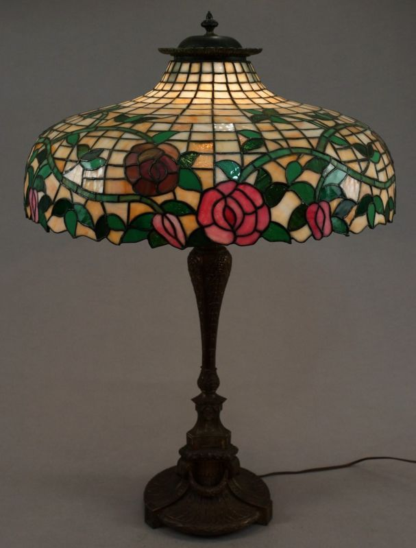 R williamson co rose floral leaded glass lamp
