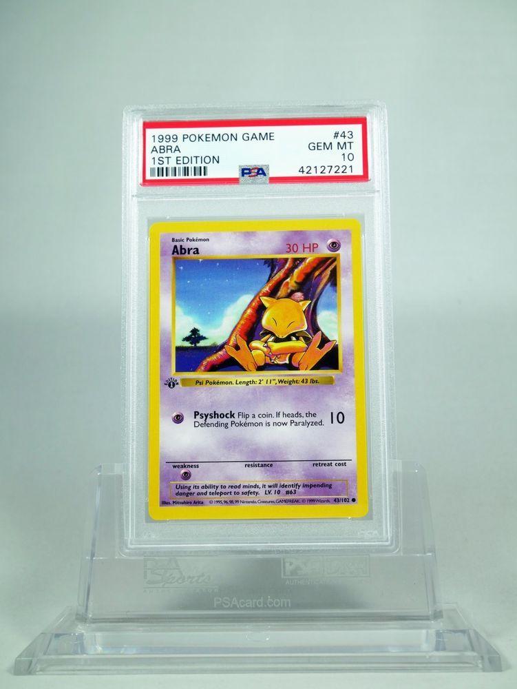 Psa 10 gem mint 1st edition base abra pokemon 1st base 43