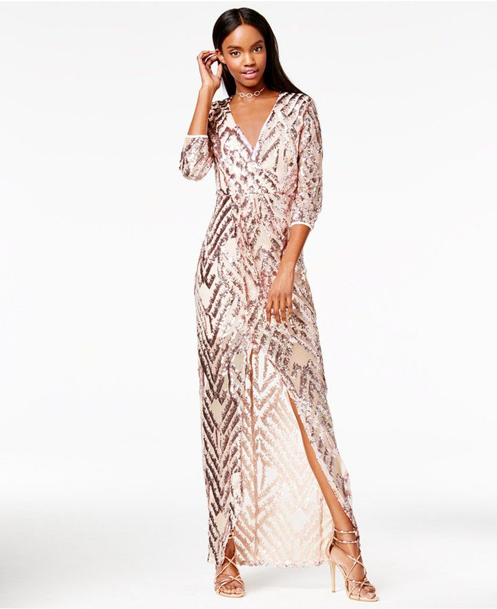 12ba9536873 Trixxi Juniors  Sequined Faux-Wrap Gown
