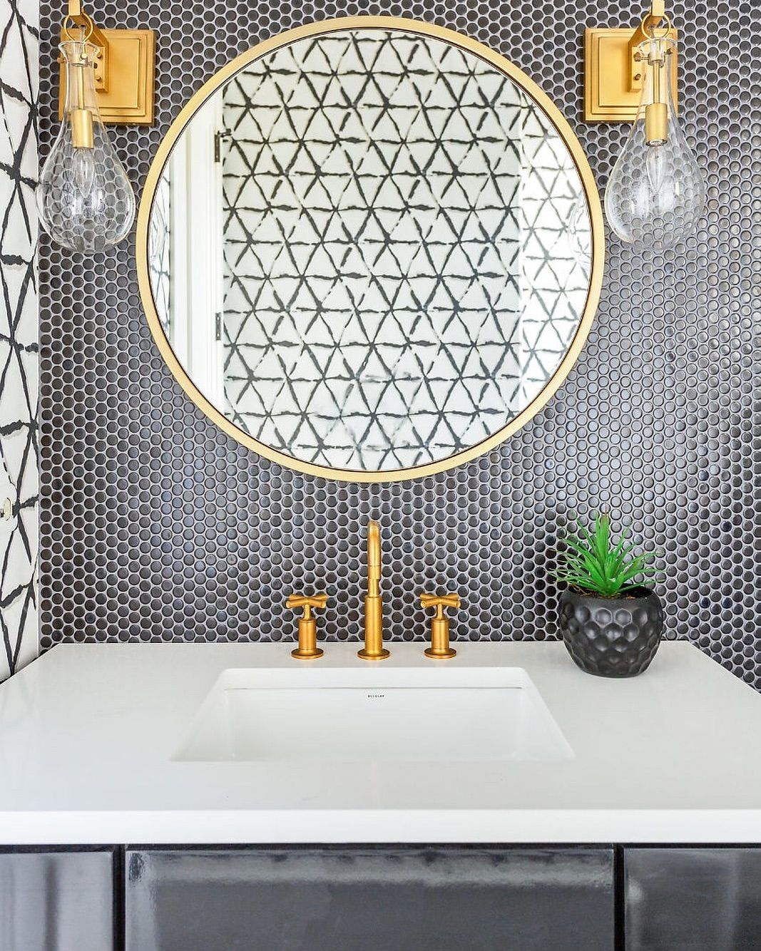 Mirror Mirror On The Wall Isn T This The Hottest Powder Bath Design Of All I Mean Really Look At The Black Penny Ti Round Mirror Bathroom Mirror Penny Tile