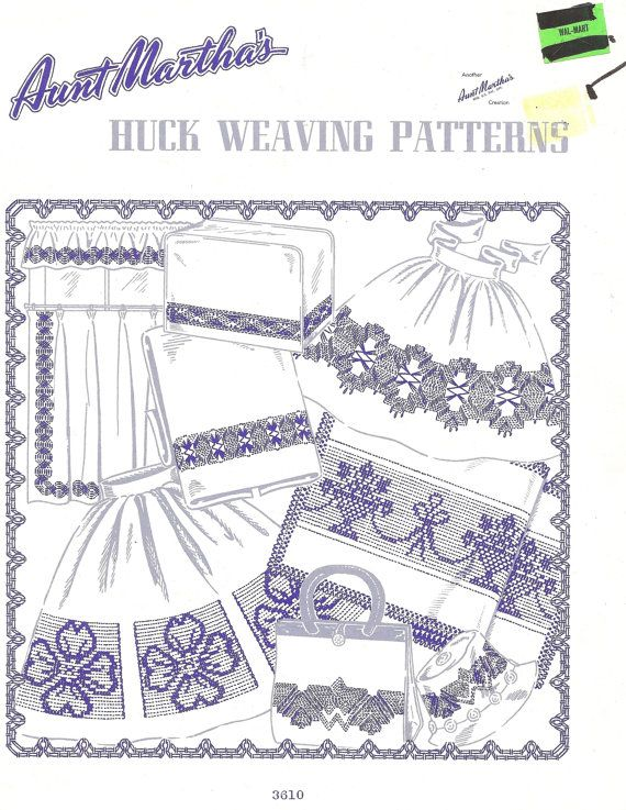 Aunt Martha\'s Huck Weaving Patterns No.3610 Crafts and Supplies ...
