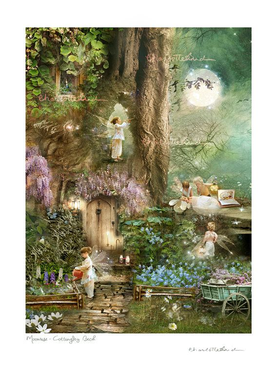 Woodland Art Print ' Moonrise by CharlotteBirdfairies