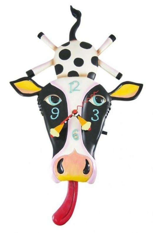 Allen Designs Cow Cream Funny Pendulum Wall Clock