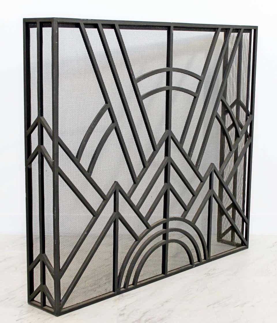 Neo Art Deco Wrought Iron Metal Fireplace Screen Metal Fireplace Art Deco Staircase Art Deco Fireplace