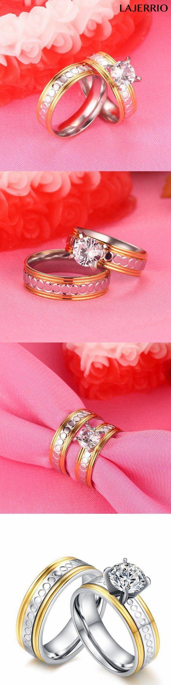 Lajerrio Jewelry Round Cut White Sapphire Gold & Silver Titanium ...