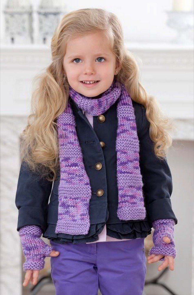 Berry-licious Scarf & Wristers in Red Heart Soft Solids ...