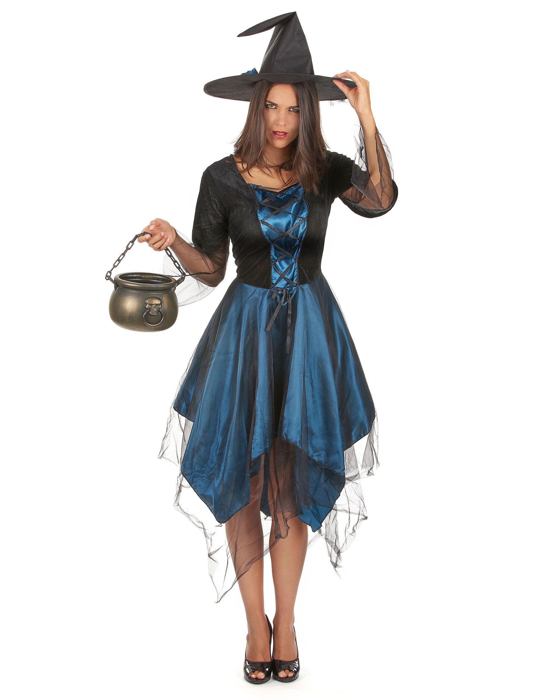 disfraz bruja azul noche mujer halloween este disfraz de bruja para mujer incluye sombrero y