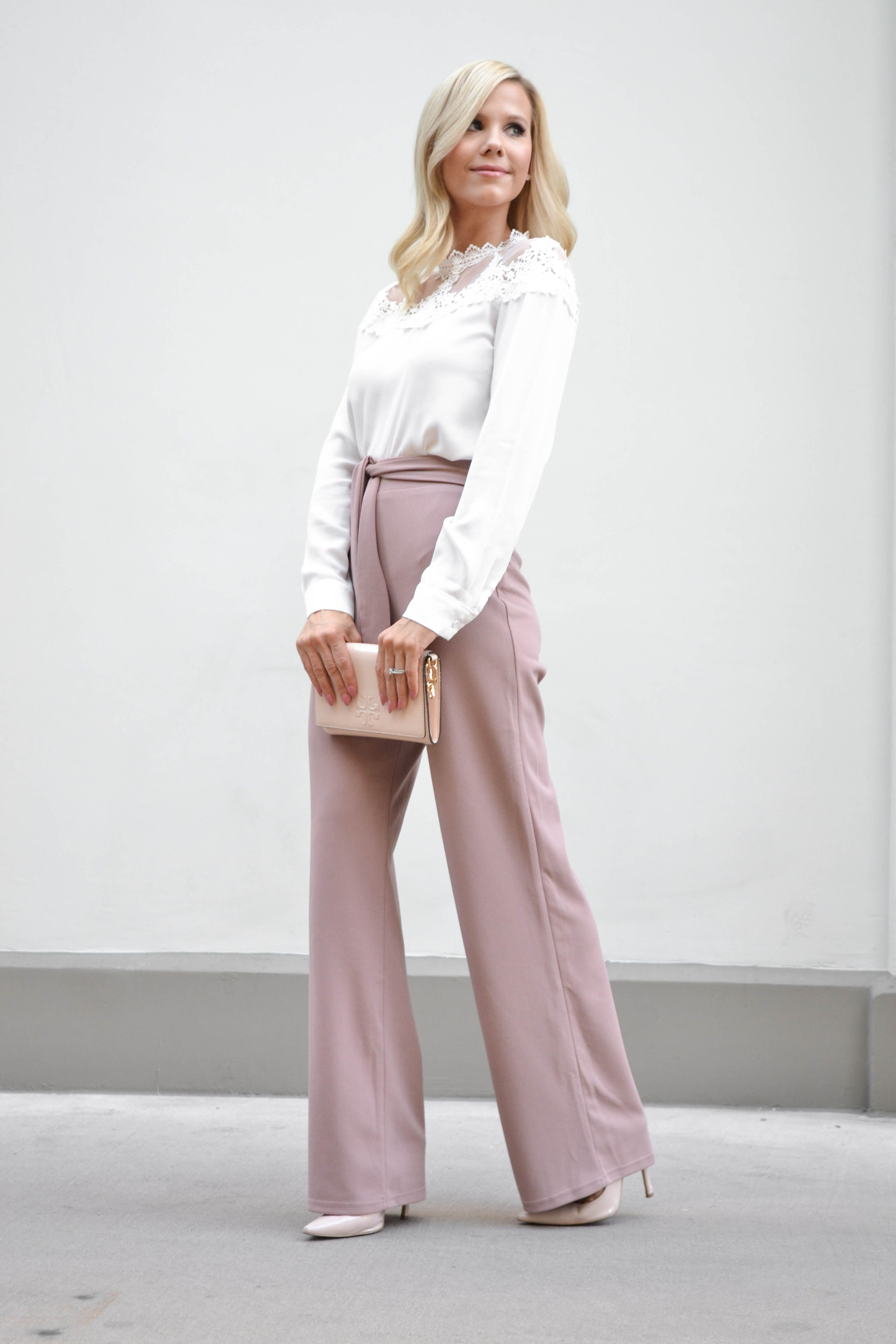 1f3b15a418 #SHEIN #Self #Tie #Waist #Palazzo #Pants #Pink #Elegant #High #Waist #Pants  #Autumn #Trousers #Women #Elastic #Waist #Casual #Pants