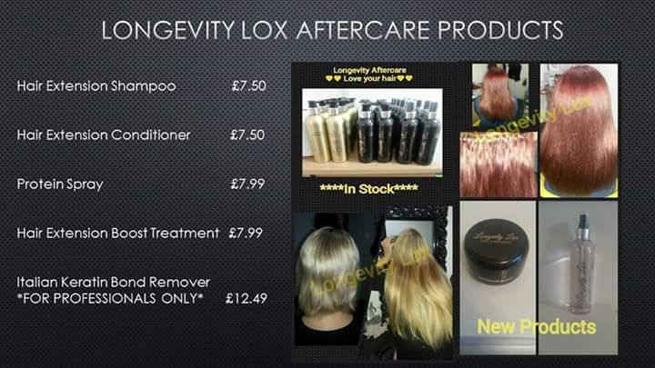 Longevity Lox price list for aftercare products....shampoo, conditioner, protein spray and boost treatment are all here to maintain the longevity of your hair extensions! Prices start at just.... £7.50