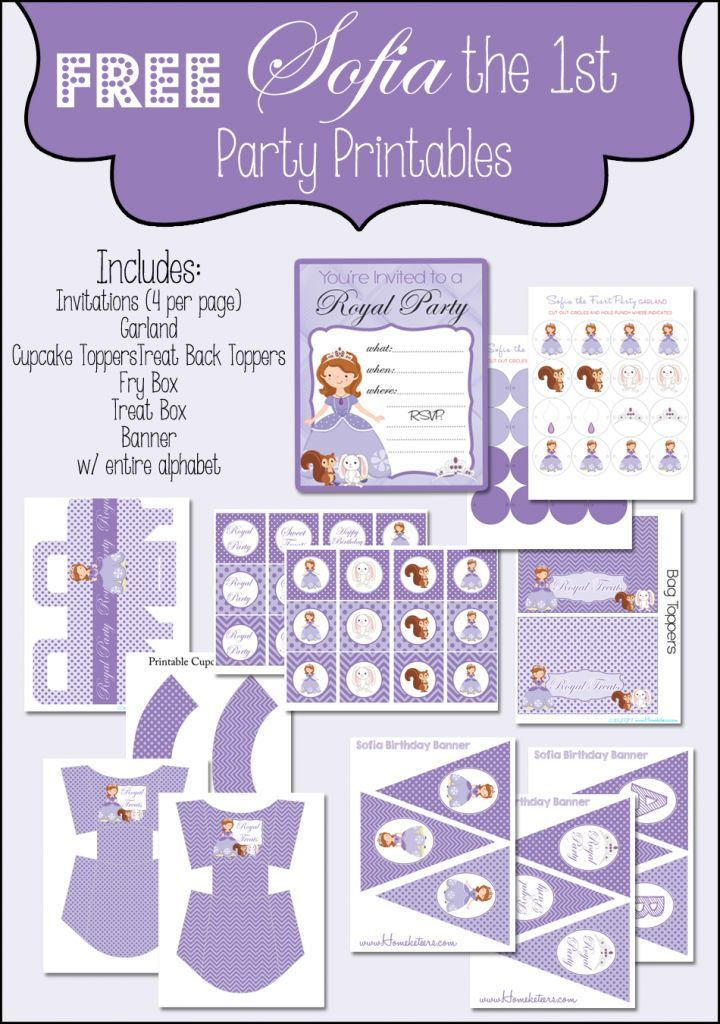 Sofia the first Birthday Party Printables {FREE} Disney Party - free printable ticket style invitations