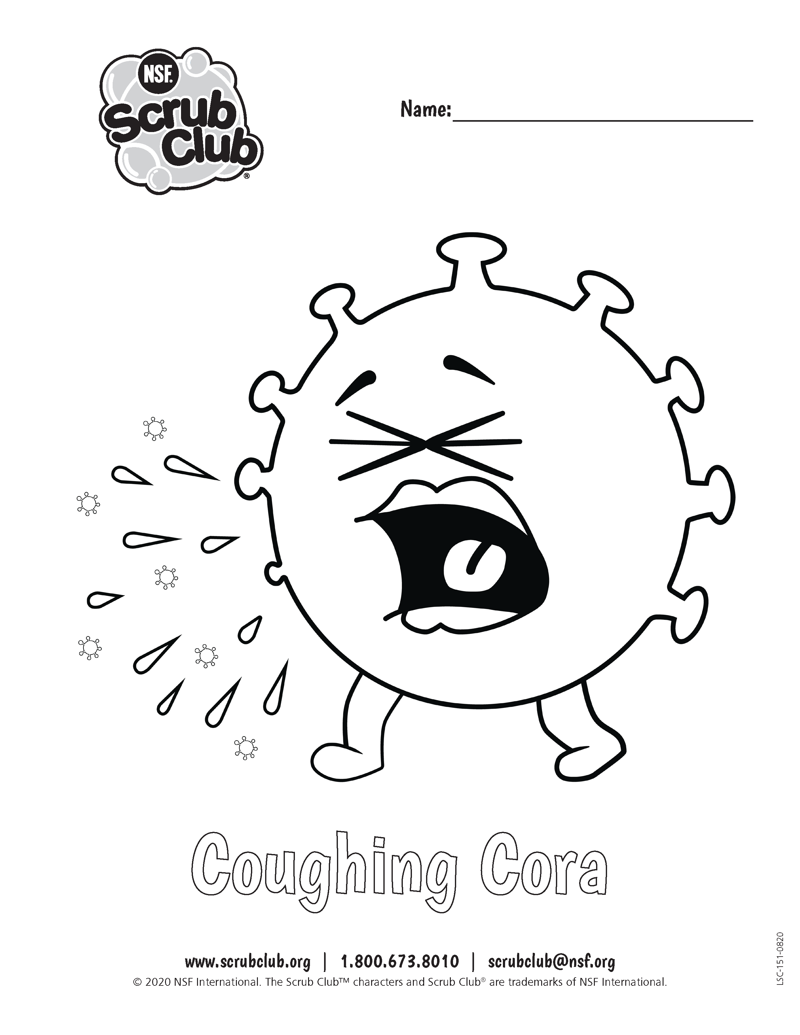 Coloring Worksheet Coughing Cora Free Printable Coloring Sheets Preschool Planning Activities For Kids [ 3300 x 2550 Pixel ]