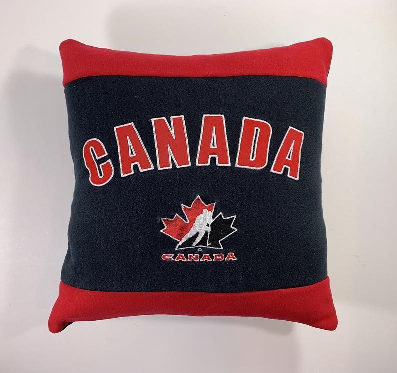 Canada hockey recycled sweatshirt pillow canada hockey fan