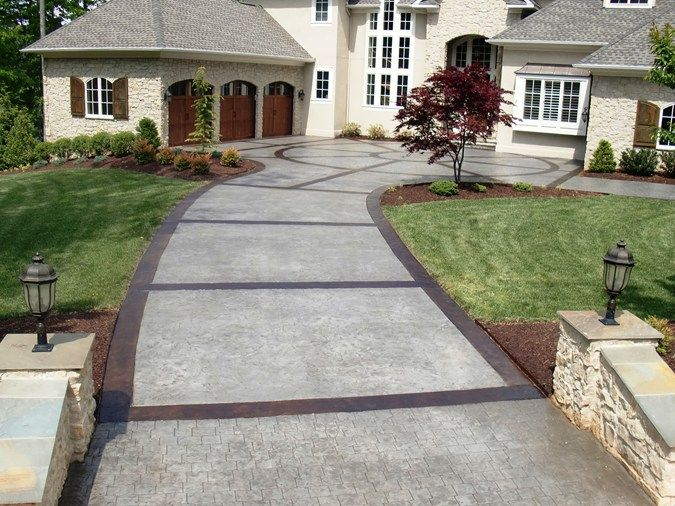 Pin By Michael Kneer On For The Home Concrete Patio Stamped Concrete Driveway Driveway Design