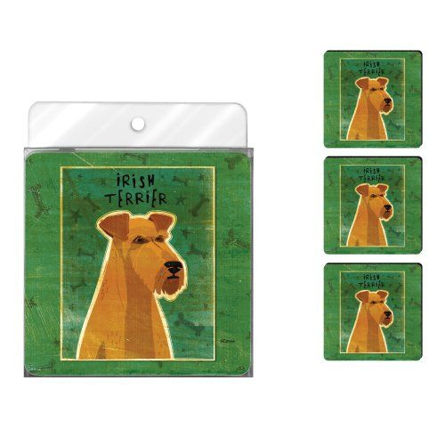 TreeFree Greetings NC37994 John W Golden 4Pack Artful Coaster Set Irish Terrier ** Check this awesome product by going to the link at the image.