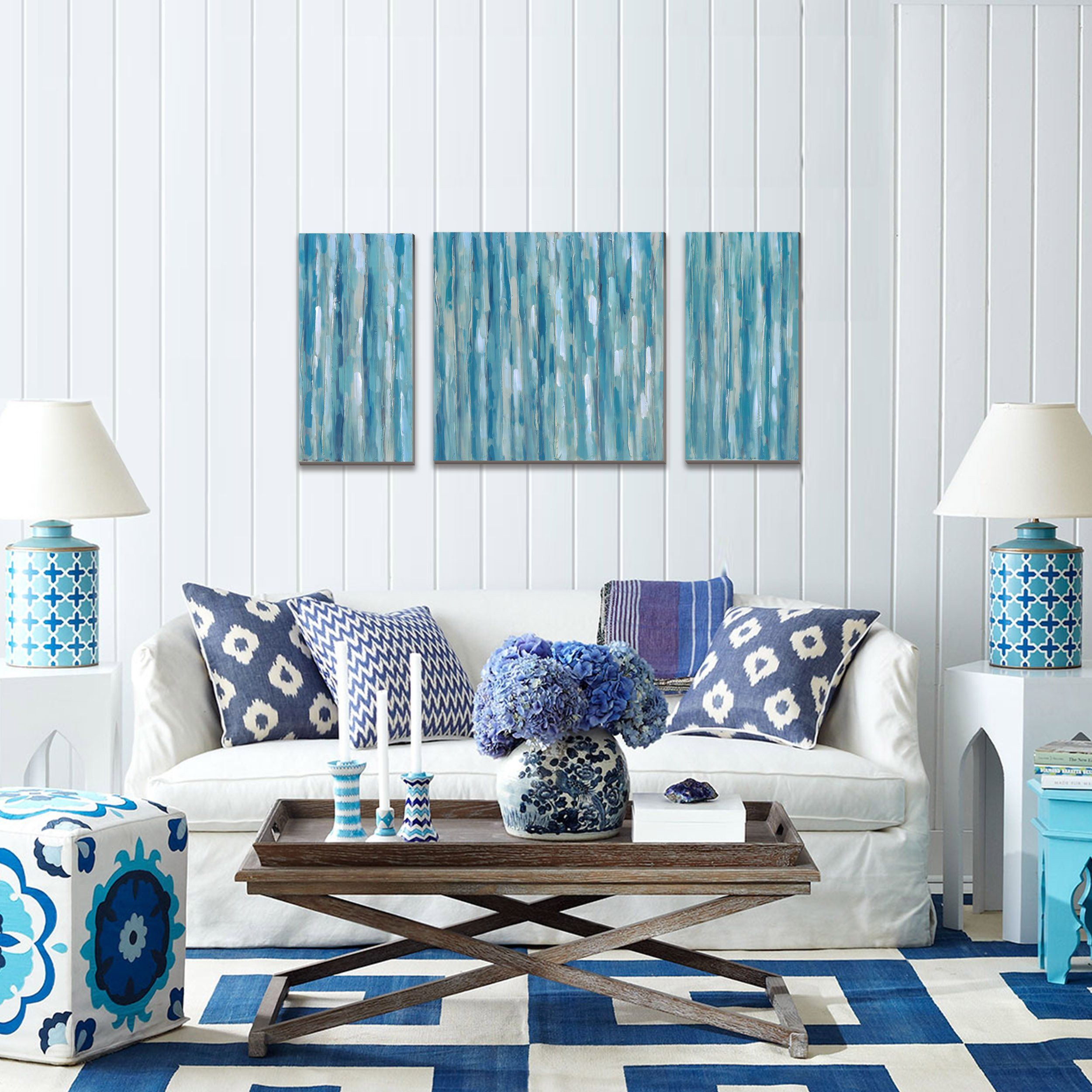 Blue abstract modern prints on canvas artwork cubism