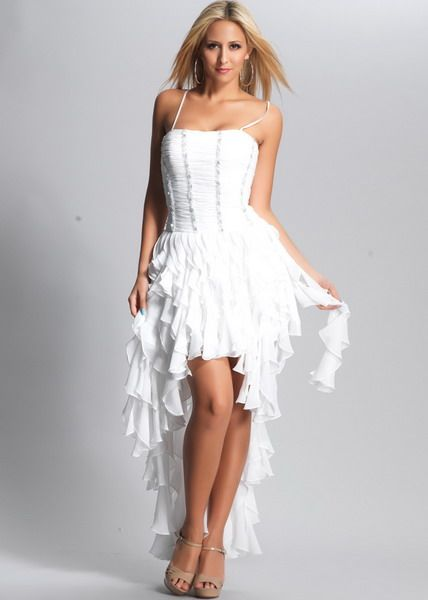 White Spaghetti Strap Pleated Top High-low Ruffled Prom Dress ...