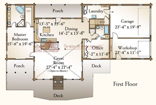 The Stonington (03W0033) | Real Log Homes Floor Plan | Log Cabin ...