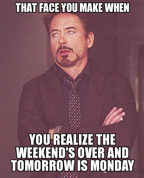 Funny Tomorrow Is Monday Meme : That face you make when realize the weekend s over and