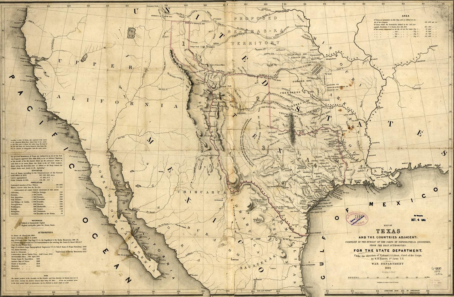 Map of Texas in 1846