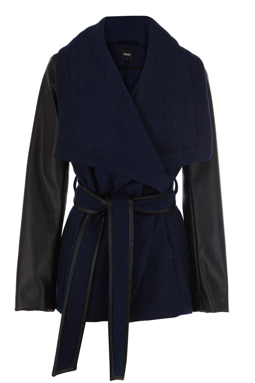 Oasis Faux Leather Sleeve Coat