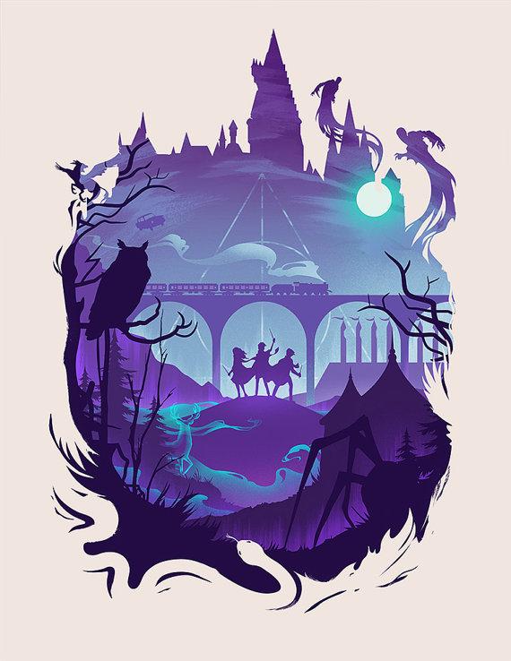 Hogwarts Harry Potter Wizard Art Print Silhouette Design