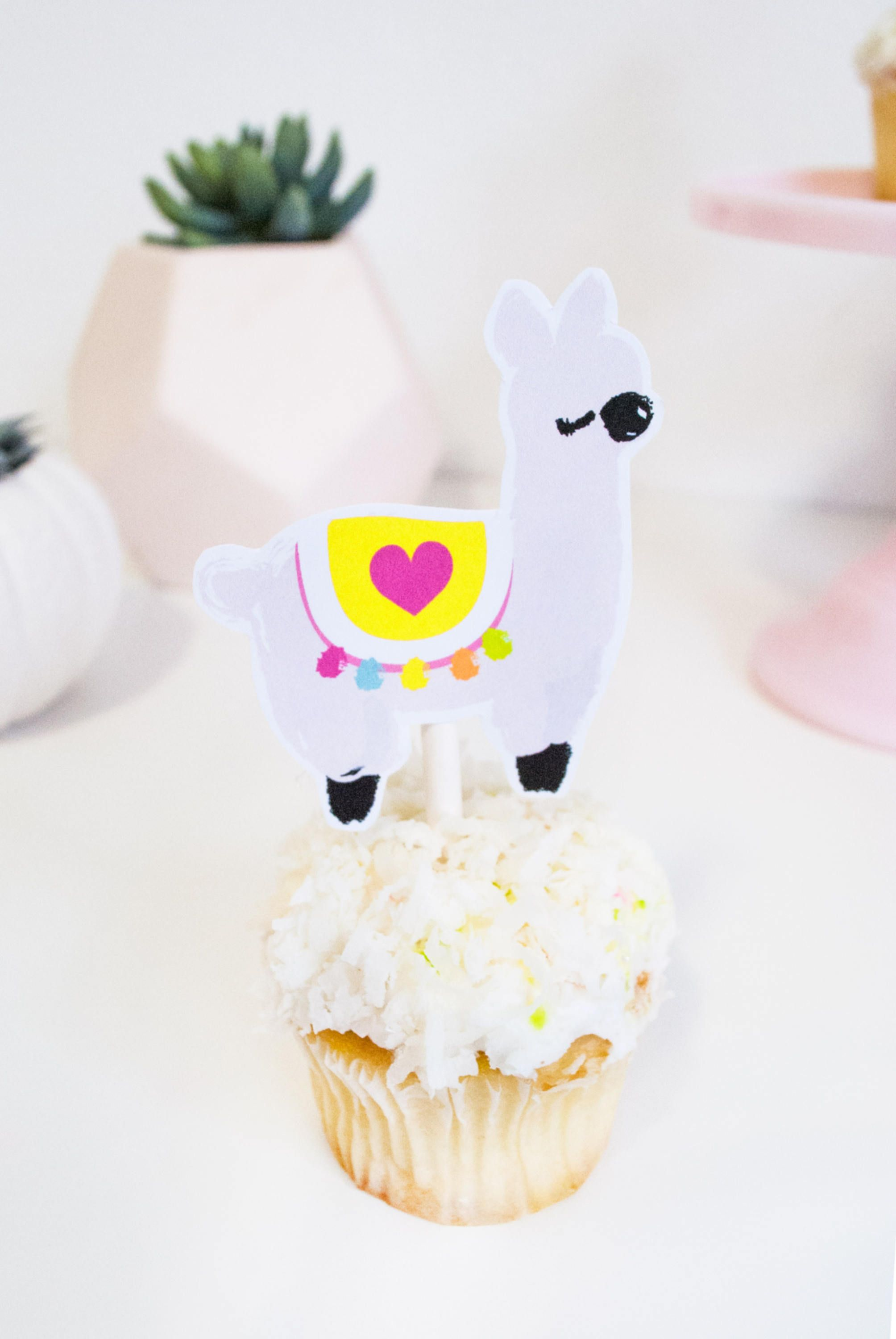 Llama love printable cupcake toppers for llama party by