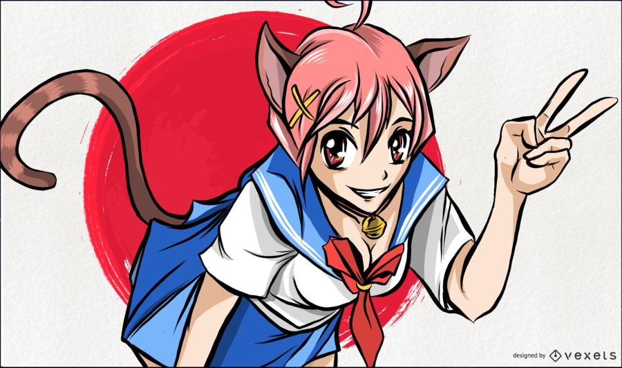 Anime Cat Girl Illustration AD , AFF, spon, Cat, Girl