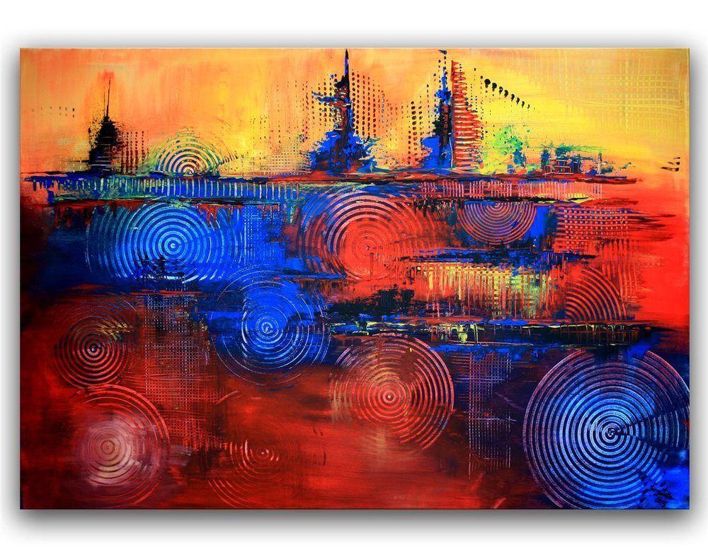 Awesome BURGSTALLER ORIGINAL XXL Luxus Acryl Gemälde Leinwand Bilder Rot Blau Gelb  4GEW