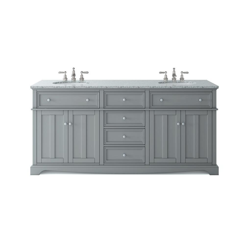 Home Decorators Collection Fremont 72 In W X 22 In D Double Vanity In Grey With Granite Vanity Top Granite Vanity Tops 72 Inch Bathroom Vanity Double Vanity [ 1000 x 1000 Pixel ]