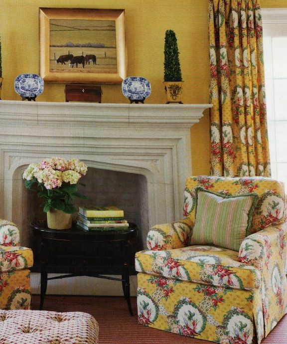 Wall color is Benjamin Moores Broadway Lights. Fabric on chairs ...