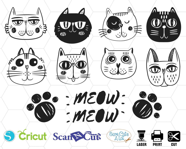 Cat Face Svg Kitty Svg Cat Svg Cute Cat Svg Kitten Svg Etsy Cat Face Cat Clipart Svg