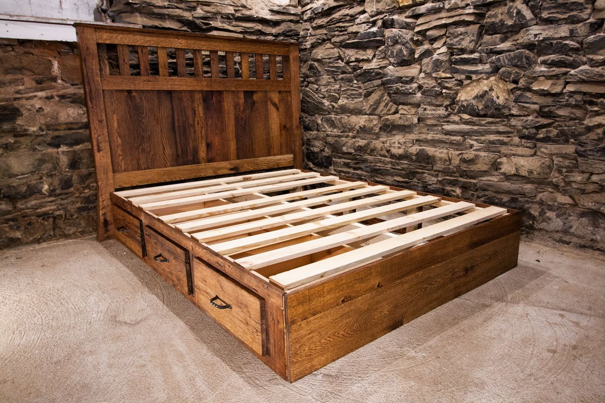 Mission Style Platform Bed With Drawers Made From Vintage Reclaimed