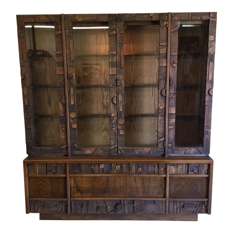 Best Lane Brutalist Style Lighted China Cabinet China Cabinet 400 x 300
