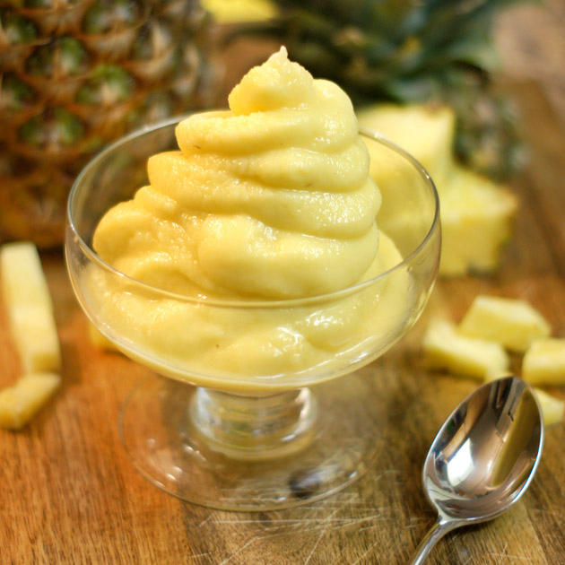 Easy & Healthy Pineapple dessert, frozen pineapple, milk and honey!