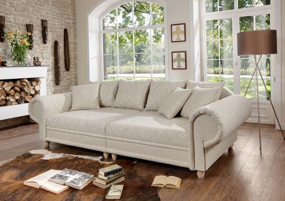 Big Sofa Julia Kolonialstil Xxl Mega Kolonialsofa Federkern Shabby Chic Haus Deko Wohnen Und Leben Couch Mobel